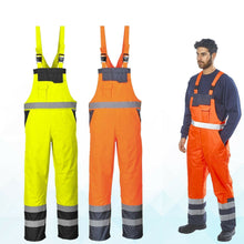 Load image into Gallery viewer, Mens Contrast Hi-Vis Bib Brace Waterproof Dungarees Breathable Trousers