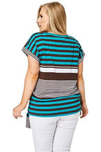 Load image into Gallery viewer, Teal & Brown Large Stripe Print Tie Front Top