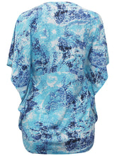 Load image into Gallery viewer, Blue/ Aqua Multi Paisley Printed Kaftan Short Sleeve Blouse