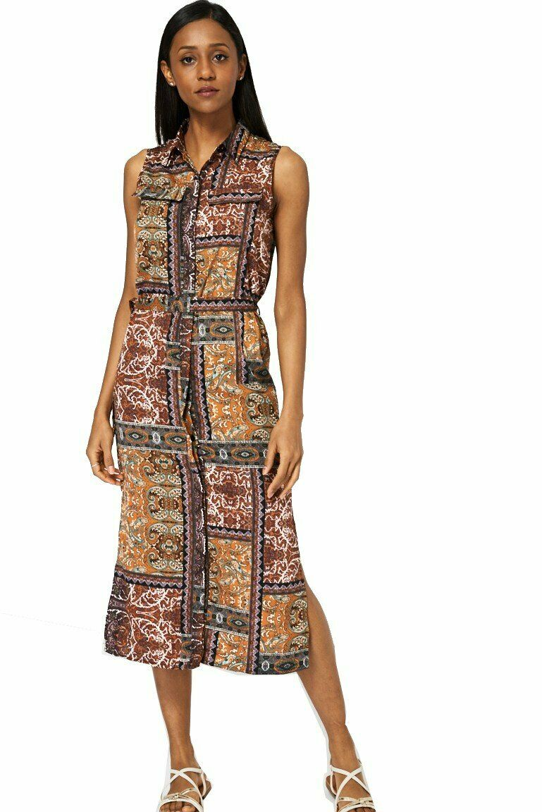 Brown Multi Belted Abstract Print Dress