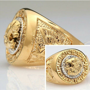 Mens Gold Filled Lion Head Medusa Great Wall Signet Rings