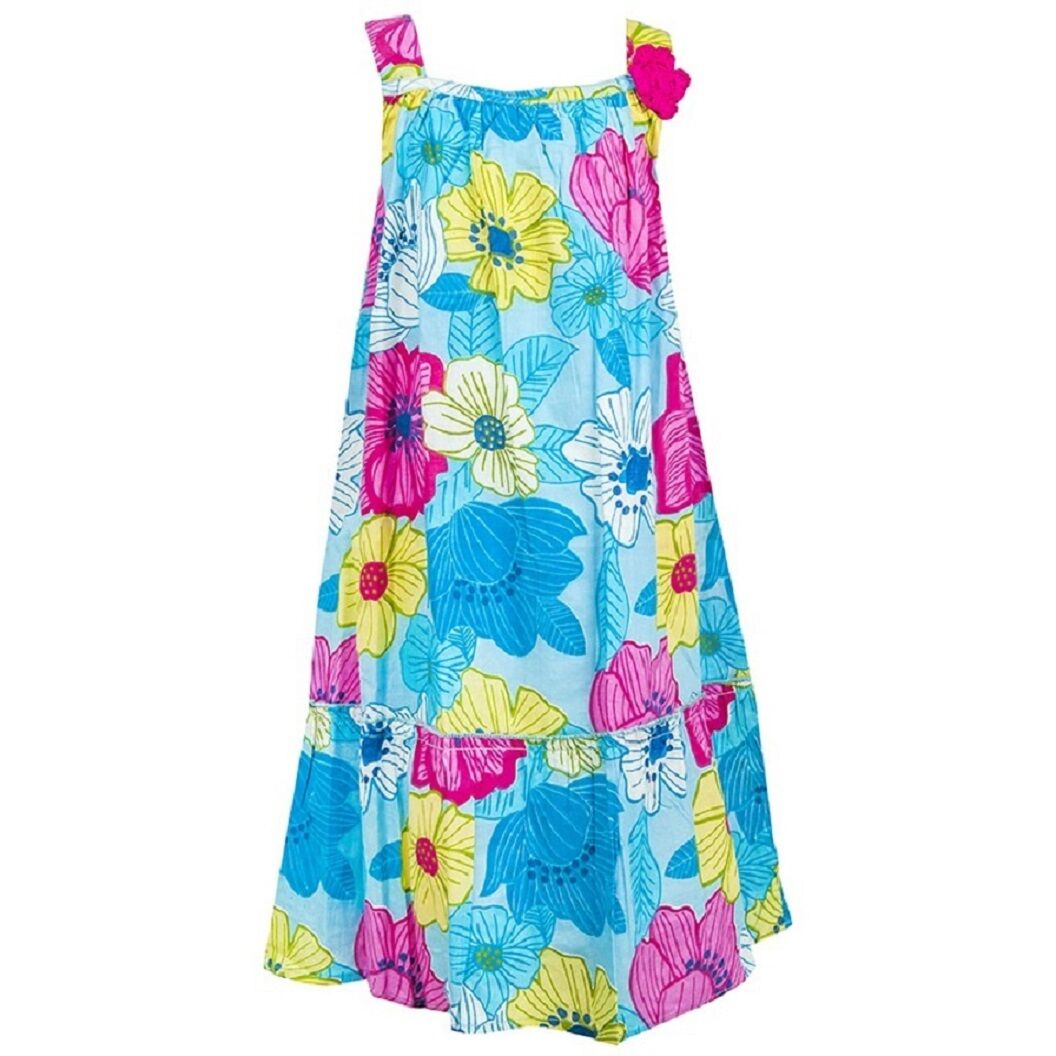 Blue Multi Floral Print Sleeveless Cotton Strappy Dress