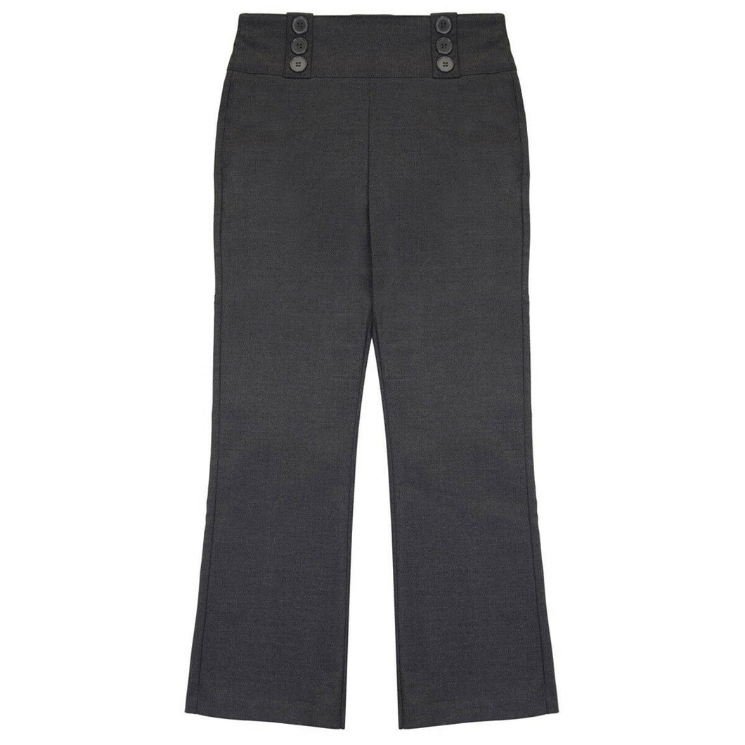 Grey Back Elasticated Bootcut School Trousers