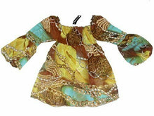 Load image into Gallery viewer, Brown Multi Coloured Chiffon Chain Cavalli link print top