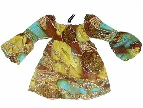 Brown Multi Coloured Chiffon Chain Cavalli link print top