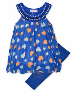 Girls Royal Blue Heart Print Chiffon Set