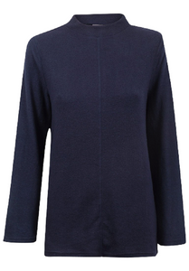 Navy High Neck Soft Snuggly Fleece Relaxed Fit Jumper