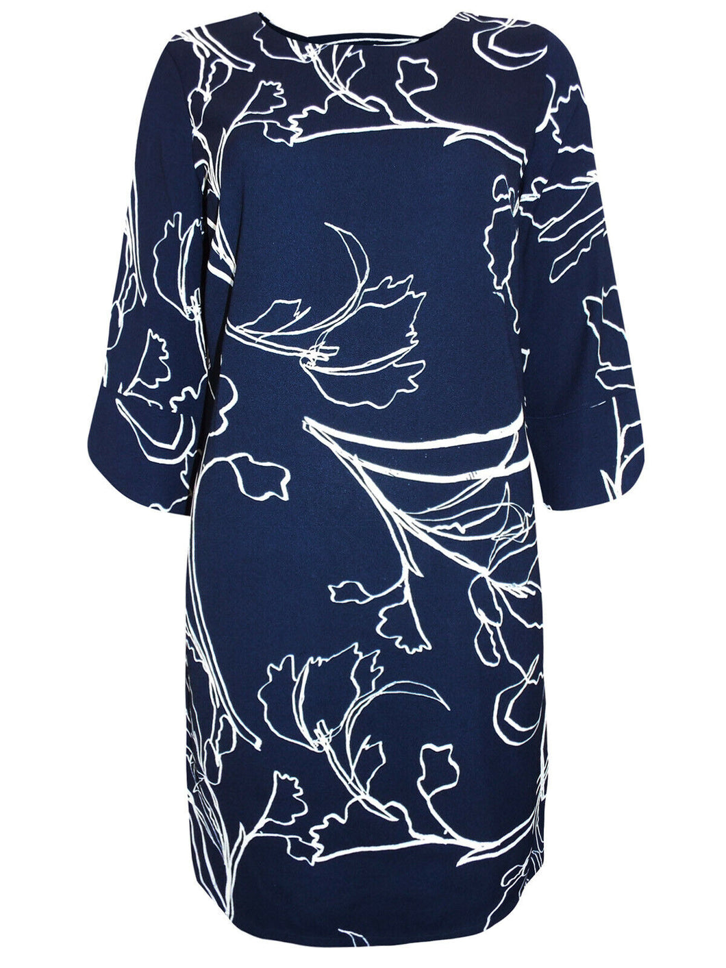 Navy & White Floral Print Keyhole Back 3/4 Sleeves