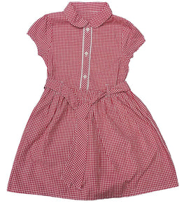 Red Front Frill Buttoned Panel Gingham School Dress