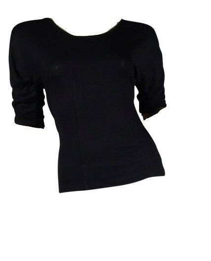 Black Round Neck Panelled Ruched Style Batwing