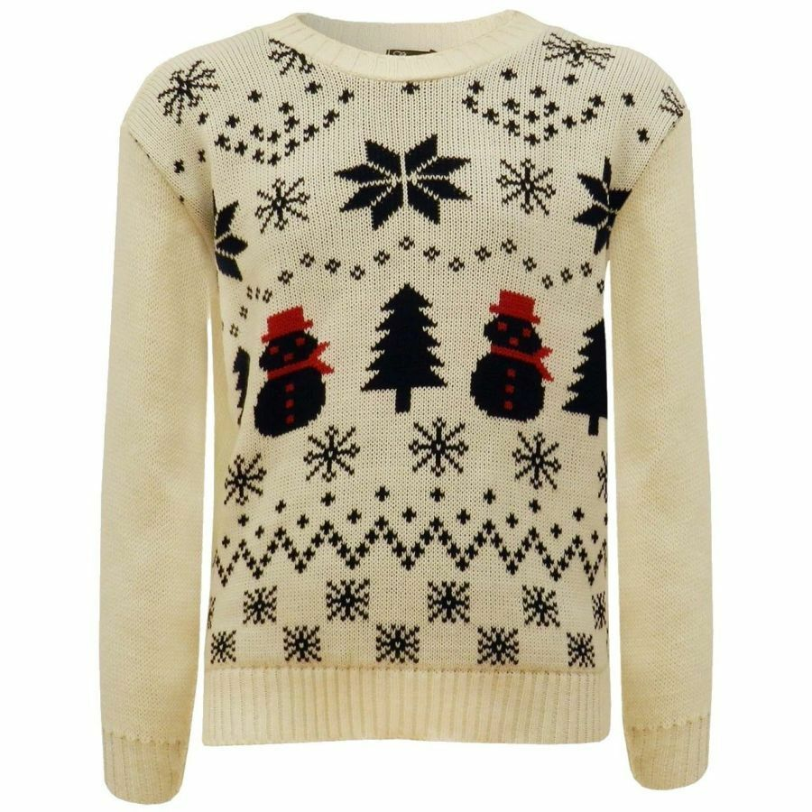 Girls Cream Snowball Knitted Christmas Jumpers