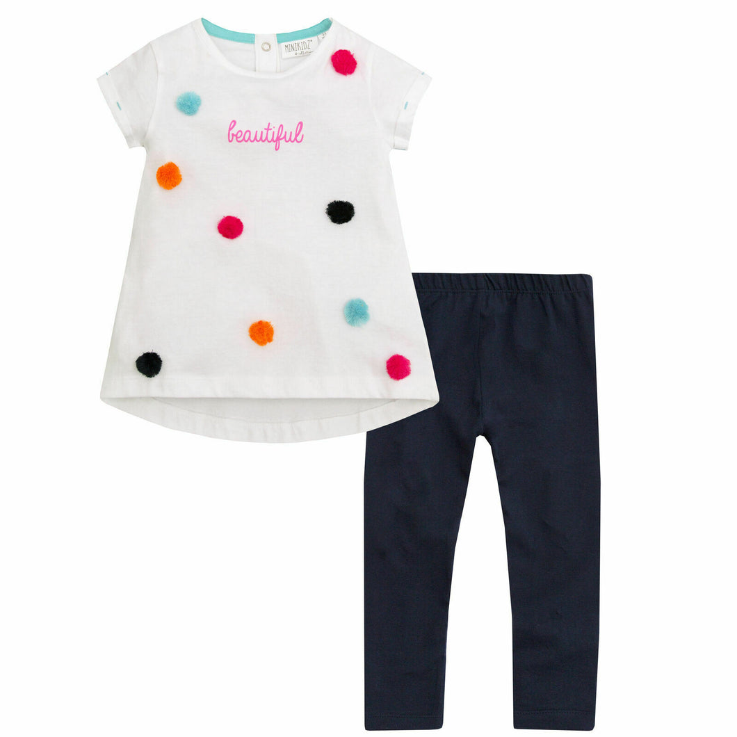 MINIKIDZ Pom Pom Cotton Shortsleeve Top & Leggings Set