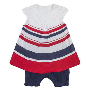 Red & Navy Stripes All in one Two Piece Outfit Set