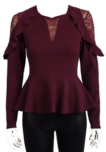 Burgundy Lace & Frill Long Sleeve Stretchy Peplum Top