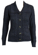 Load image into Gallery viewer, Navy Cable Knit Button Down Flap Collar Cardigan