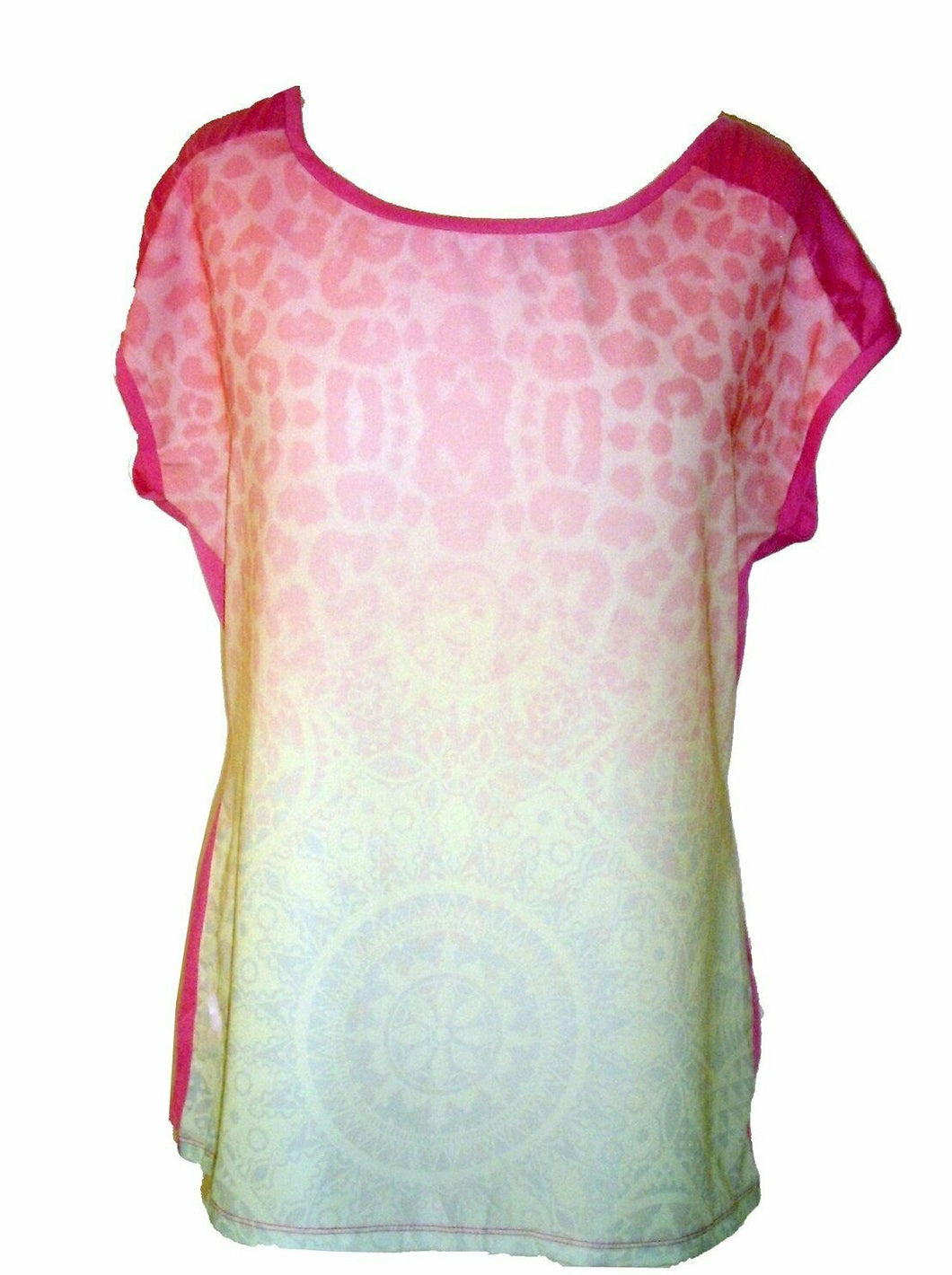 Pink Multi Leopard Print Plain Back Sleeveless Top