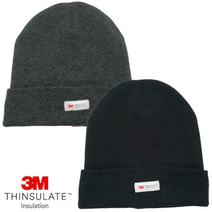 Mens 3M Thinsulate Cuff Beanie Hat Thermal Fleece Lined Cap