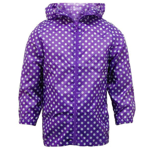 Girls Polka Dot Lightweight Showerproof Rain Jacket