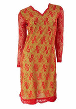 Load image into Gallery viewer, Red Floral Lace Long Sleeve Tunic Dress