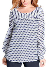 Load image into Gallery viewer, Blue Printed Long Sleeve Chiffon Top