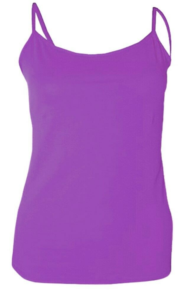 Purple Plain Cotton Vest Strappy Top