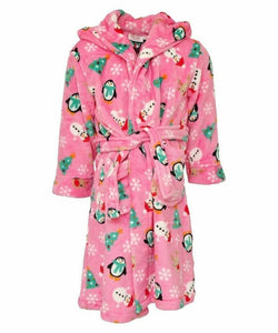 Girls Pink Novelty Christmas Dressing Gown