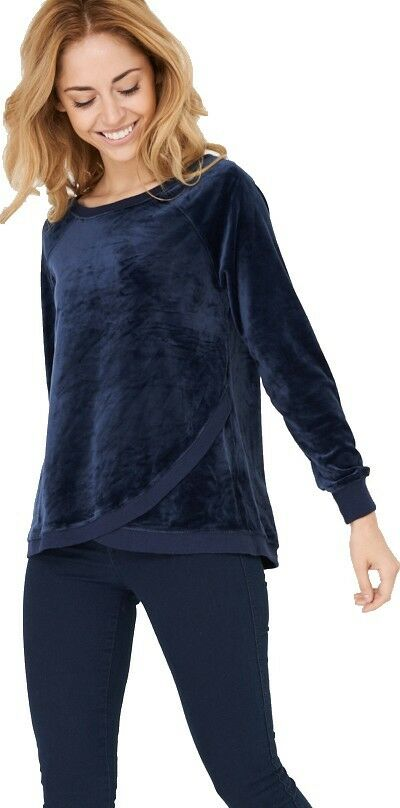 Navy Soft Velvet Sweatshirt