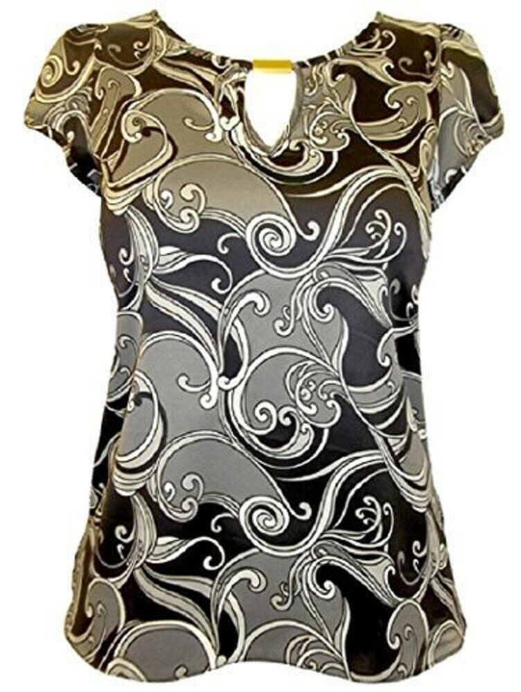 BlackGrey Swirl Print Satin Keyhole Cap Sleeve Top