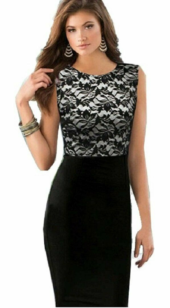 Black Floral Lace Stretchy Sleeveless Bodycon Dress
