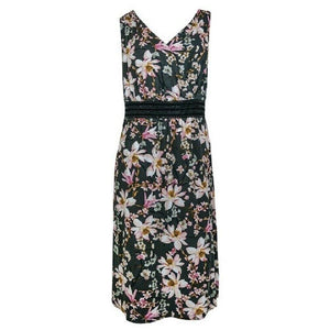 Multi Floral Print Cross-over Front Sleeveless Dress