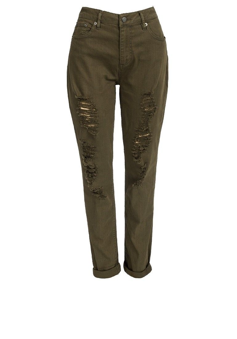 Khaki Ripped Design Cotton Rich Skinny Fit Jeans