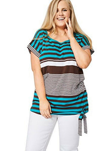 Teal & Brown Large Stripe Print Tie Front Top