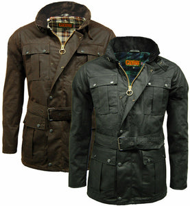 Mens Game Continental Belted Motorcyle Wax Coat