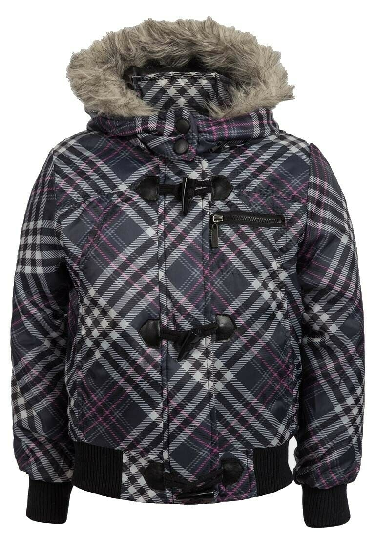 Grey Multi Check Padded Furry Detachable Hood Jacket