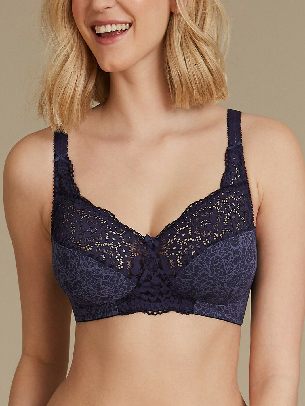 Indigo Mix Vintage Lace Cotton Rich Full Cup Bra