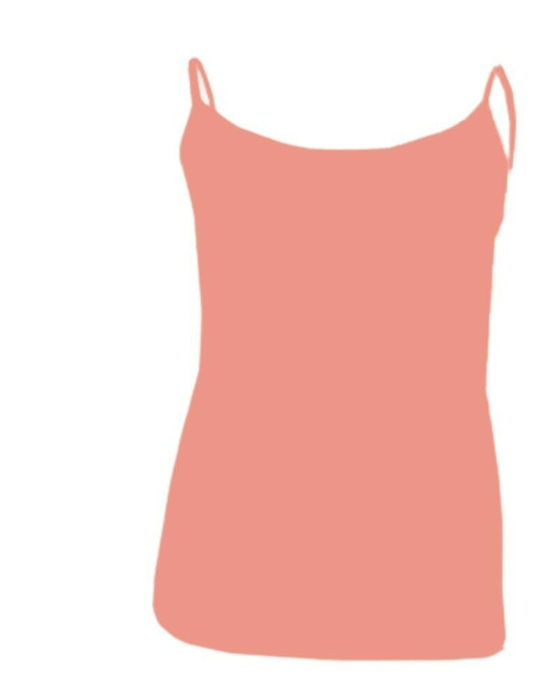 Coral Plain Cotton Vest Strappy Top