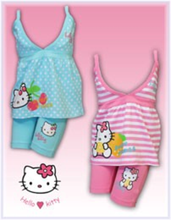 Load image into Gallery viewer, Hello Kitty Pink Blue Spotty Stripe Top & Leggings Set