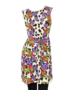 Multi Bold Floral Print Sleeveless Belted Top Dress