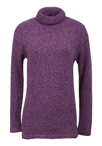 Ladies Purple Real comfort roll up neck jumper.