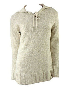 Beige Real Comfort Large Collar Tie Neck Jumper