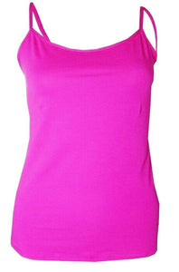 Cerise Plain Cotton Vest Strappy Top