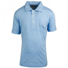Load image into Gallery viewer, Blue & White Multi Stripe Polo T-Shirt Top