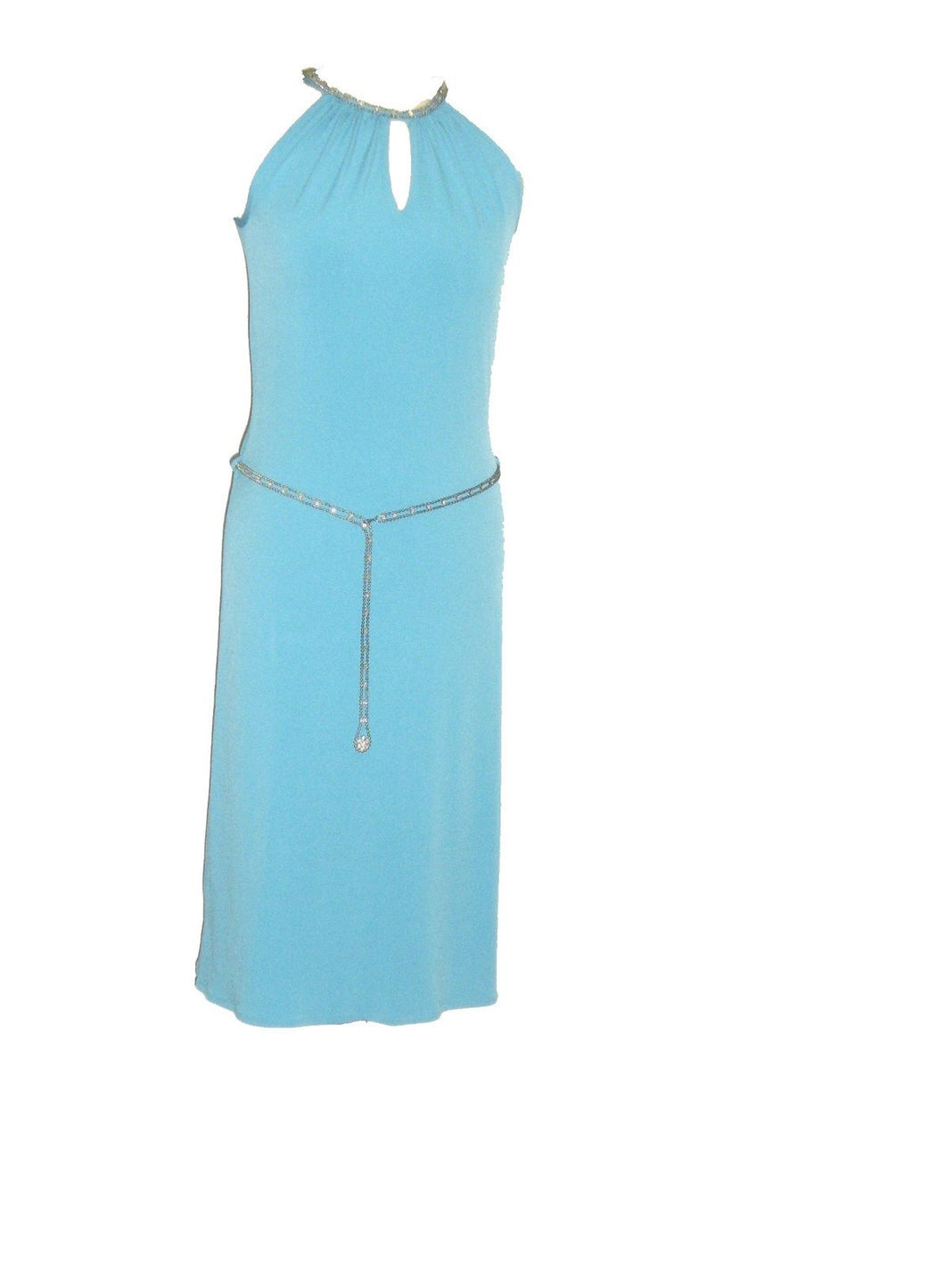 Blue Stylish Diamante Neck Sleeveless Dress