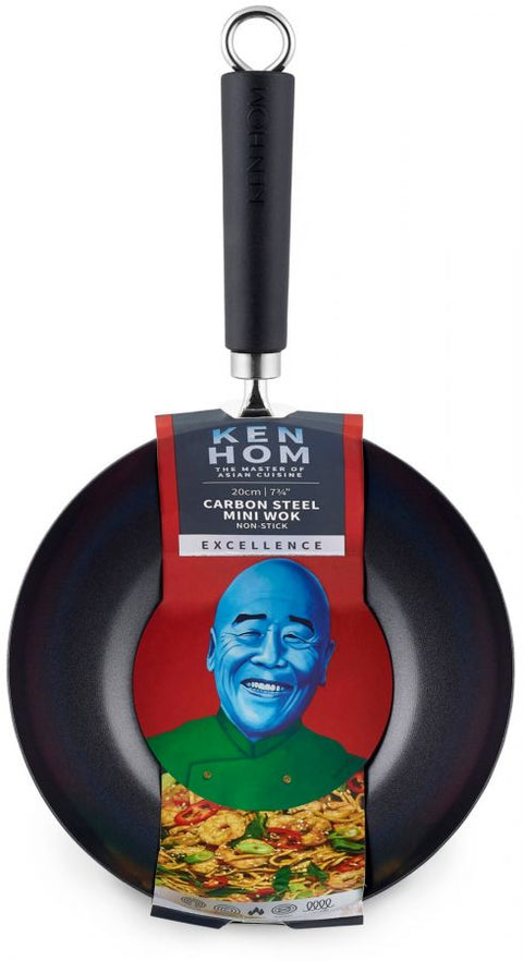 Ken Hom Excellence Non Stick Carbon Steel Wok - 20cm