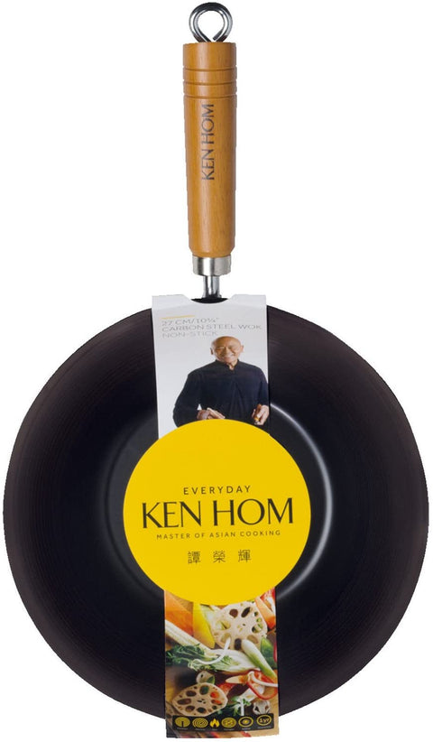 Ken Hom Everyday Carbon Steel Non-Stick Wok - 27cm
