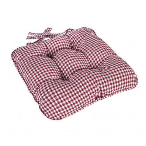 Berkeley Checked Piped Chunky Seat Pad Cushion - Red