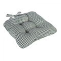 Berkeley Checked Piped Chunky Seat Pad Cushion - Green