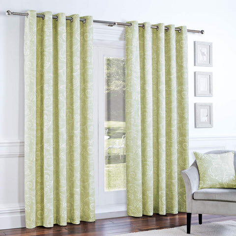 Curtina Somerford Lined Eyelet Curtains - Green