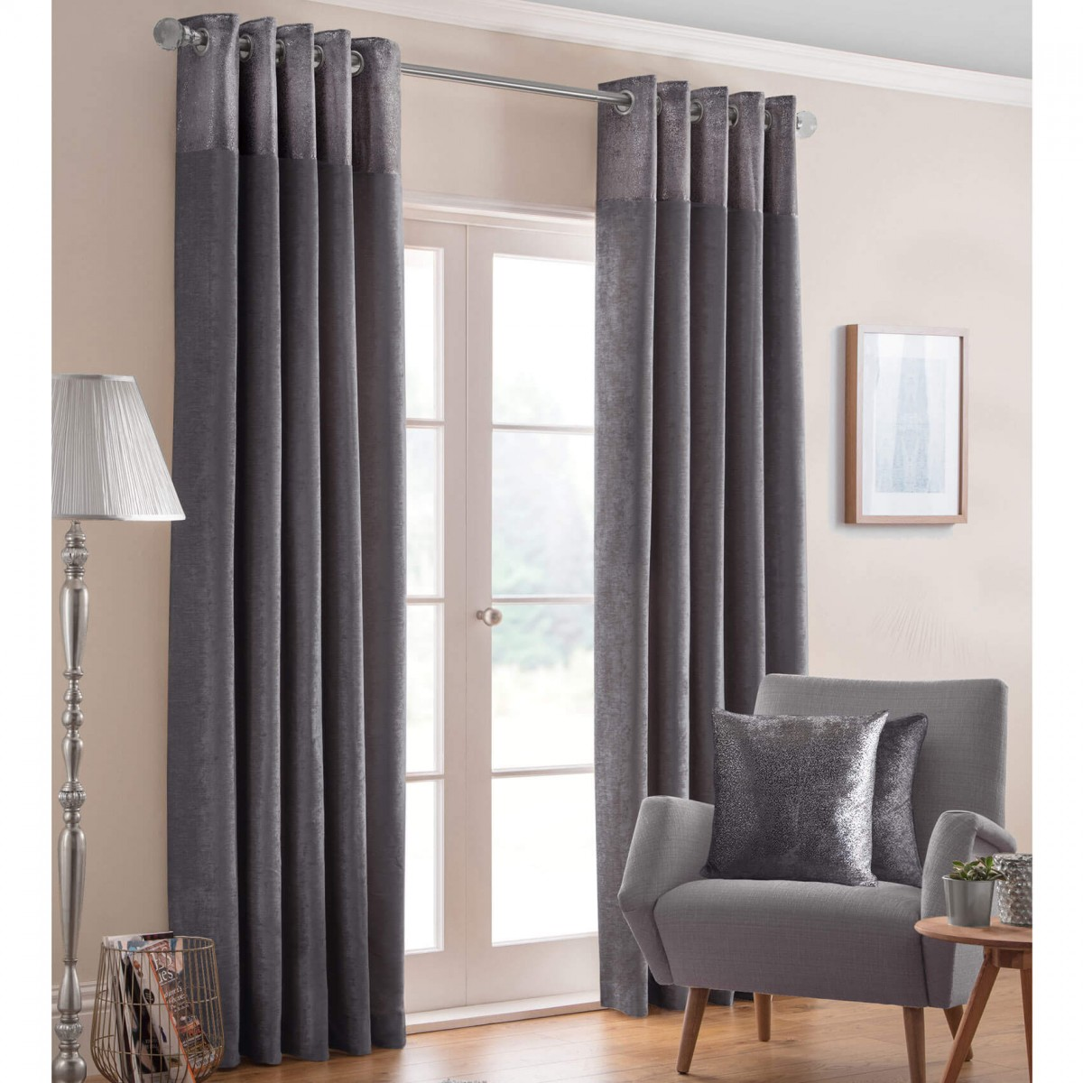 Design Studio Nova Lined Eyelet Curtains - Pewter