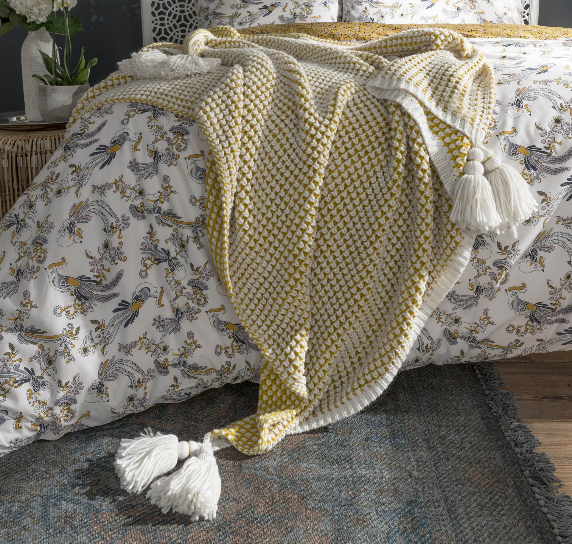 Fat Face Nia Knitted Throw - Ochre